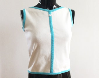 COURREGES Paris Space Age White Mod Top. Vintage 1990s. Small. UK 10