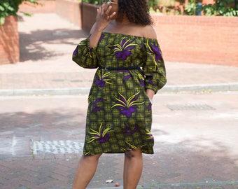 Ankara dress, Off shoulder dress, african print dress, floral print dress, dress
