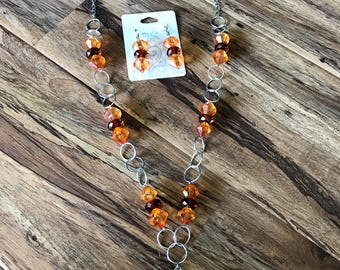Handmade Fall Colors Necklace and earrings Set