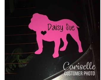 English Bulldog Personalized Pet Vinyl Decal Car Laptop Decal