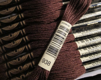 DMC 938, Ultra Dark Coffee Brown, DMC Cotton Embroidery Floss - 8m Skeins - Full (12-skein) Boxes - Get Up To 50% OFF, see Description