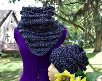 Chunky Knit Cowl and Hat Set // The CELESTE Set // Knitting // Multiple Colors // One Size