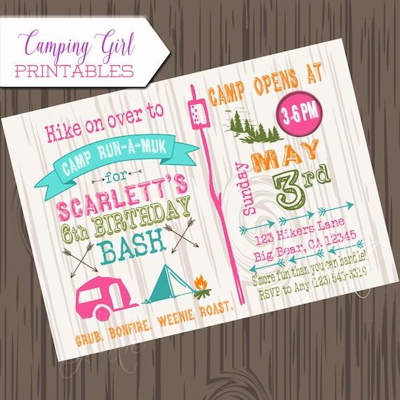 Camping Theme Invitations: Girl Camping Birthday Invitation DIY Printable Camp Birthday