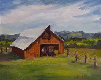 "Original Oil Painting, ""Red Barn"""