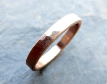 3mm Men's or Women's Rustic Hammered Gold Ring - Thick Wedding Band in Solid 14k Yellow or Rose Gold - Flat Rectangular Matte or High Polish