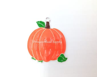 Pumpkin Pendant for Chunky Necklaces,  Pumpkin Enamel Pendant, 39mm Fall Pumpkin Pendant Chunky Necklace