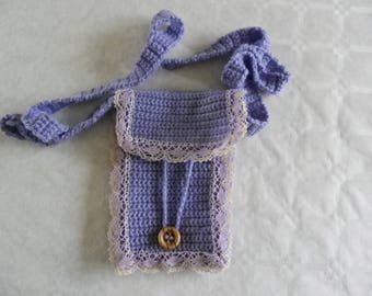 crocheted bag and purple lace