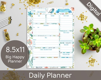 8.5x11 Daily Planner Printable, Printable Daily Schedule, Big Happy Planner, US Letter size, Arinne Blue Bird, DIY PDF Instant Download