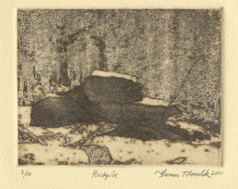 ROCKPILE original limited edition etching of Cook Forest