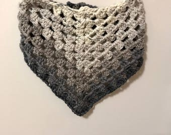 hand crocheted crochet triangle infinity scarf