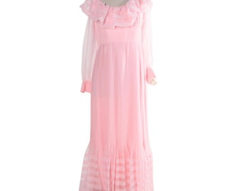 70s Vintage Pink Chiffon Goddess Dress Size 14 by Felix Arbeo of Carrie Couture - Sheer Long Sleeve Off the Shoulder Pleated Evening Gown