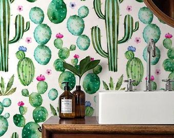 Cactus print Wallpaper/ Watercolour Removable Wallpaper/ Self adhesive vinyl Wallpaper / Nursery Wall Covering - 130