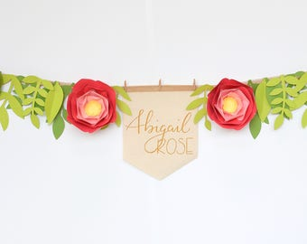 Paper Flower and Foliage Garland with Personalized Banner