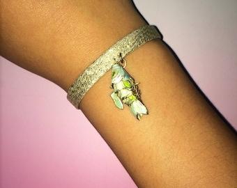 Bracelet gold articulated fish