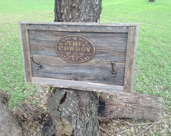 Western Hat Rack / Cowboy Hat Rack / Barn Wood Hat Rack / Rustic Decor / Cowboy Plaque / Rustic Country Decor / Hat Rack / Rustic Plaque