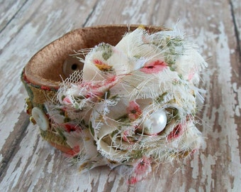 Bracelet OOAK Natural Leather Cuff with Chiffon Fabric Flower and Vintage Buttons and Rhinestones