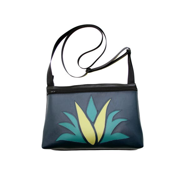 Agave, cactus, navy vinyl, medium crossbody, vegan leather, zipper top