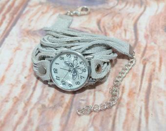 Butterfly Watch, White Leather Watch, White Womens Watch, Wrap Watch, Leather Wrap Around Watch, Quartz Watch, Designer Watches, Boho Watch