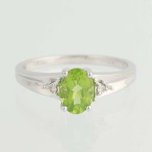 Peridot & Diamond Ring - 14k White Gold August Birthstone .92ctw N4341