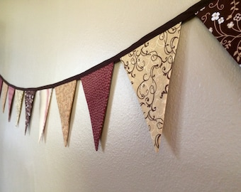Fall Fabric Bunting, Fabric Banner, Holiday Banner, Brown and Brick Red Flag Bunting, Party Decor, Country Home Photo Prop - Ready to Ship