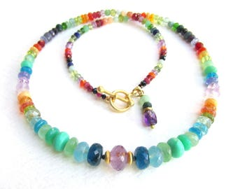 Gemstone Rainbow Necklace ~ Amethyst, Aquamarine, Tanzanite, Apatite, Peridot, Chrysoprase, Opal and Sunstone