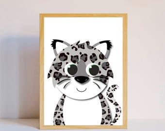 Little snow leopard nursery print