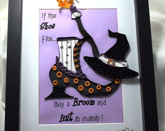 Halloween, Quilled Witch's Shoe, Witch's Broom, Witch's Hat, Framed Quilling
