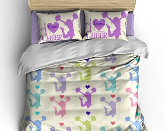 Personalized Custom Bedding Cheering Heart - available Toddler, Twin, Full/Queen or King Size