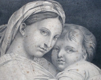 Victorian art little brother and sister print large French engraving dated 1841