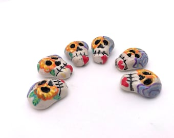 6 Calavera skull orange and yellow flowered beads handmade and hand painted by Marie Segal 2018 set 4