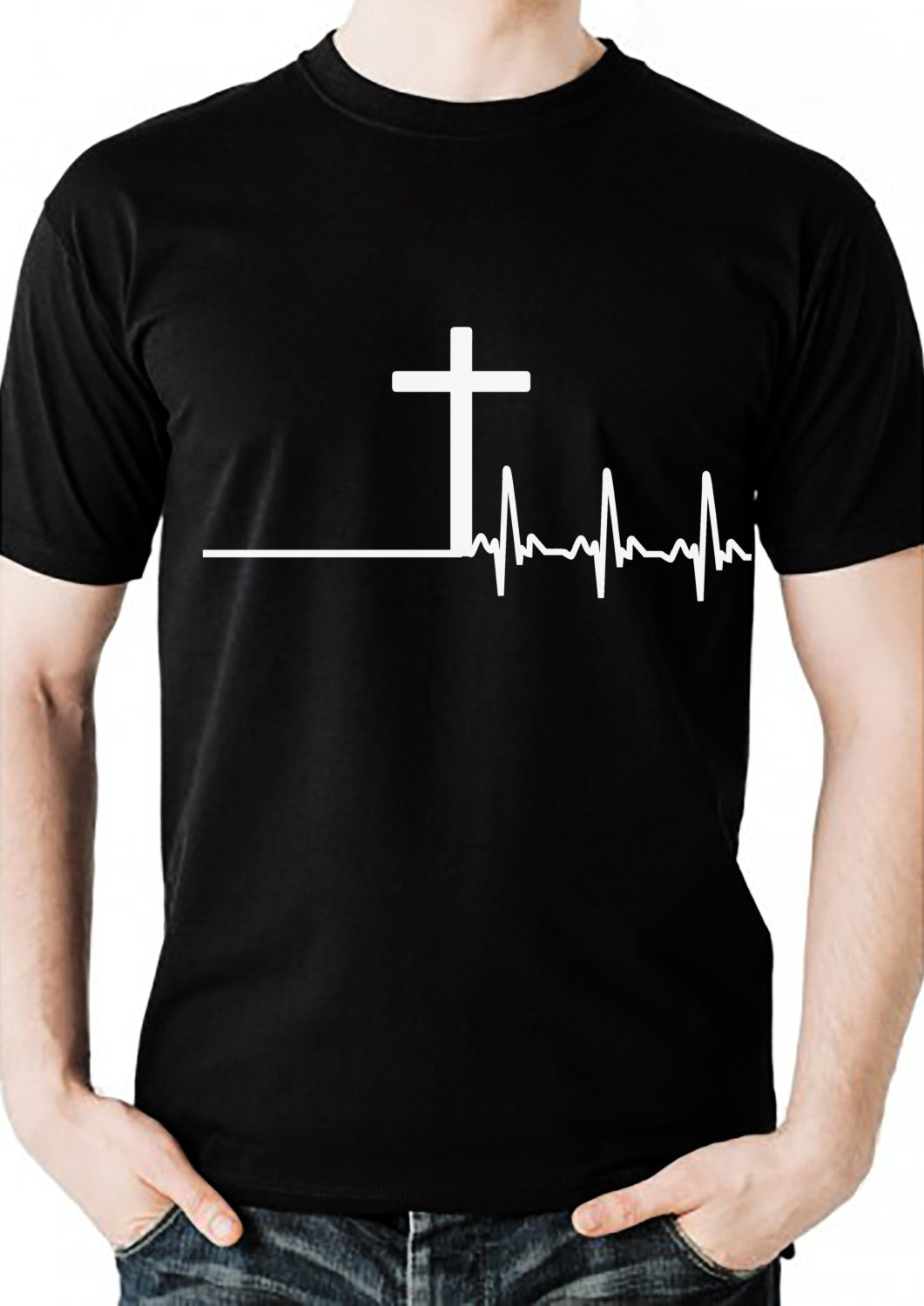 Men's christian tshirt with cross and heartbeat design
