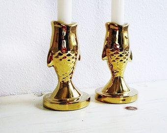 Candlestick Holders, Gold Candle Holders, Vintage Candle Holders, Ceramic Candle Holders, Fish Candlestick Holders,   set of two
