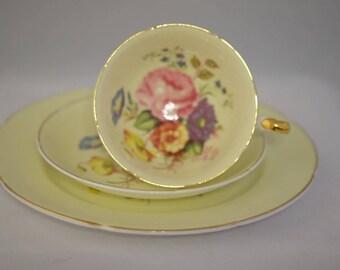 Vintage Royal Grafton English Bone China Tea Cup Trio, Yellow Tea Set Cabbage Roses Bone China Tea Set, Tea Party China, Bridal Wedding Gift