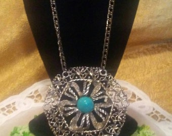 Silver and Faux Turquoise Statement Necklace