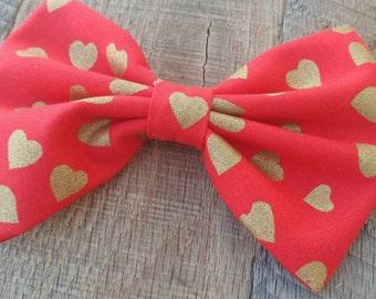 valentine hair bow, Valentine bow, Valentine's day hair bow, hearts bow, sale