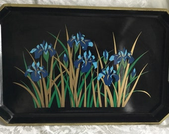 Midcentury Toyo Blue Daffodil Serving Tray