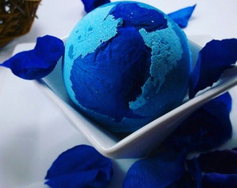 Lapis Lazuli Large Bathbomb, Large Bath Bomb, Blue Bathbomb, Blue Rose, Vanilla Bathbomb, Bath Fizzy, Spa Gift Idea, Glitter Bathbomb