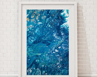 Ocean art, poster, Blue abstract art, wall art, fluid art