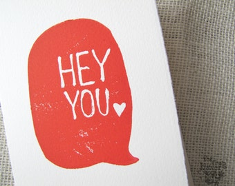 Hey You Talk Bubble in Red - block print notecard