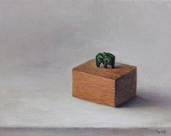 Original oil painting - Tiny wooden elephant