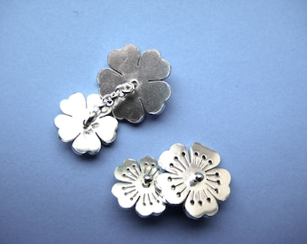Sterling Silver Little Sakura Flower Cufflinks