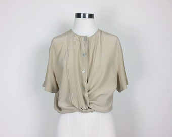 vintage silk blouse/ minimalist silk top/ silk shirt/ 80s silk top/ short sleeves women's size S/M
