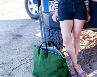 Canvas Weekender Bag, Canvas Duffle Bag, Large Canvas Tote Bag, Waxed Canvas Bag, Emerald Green