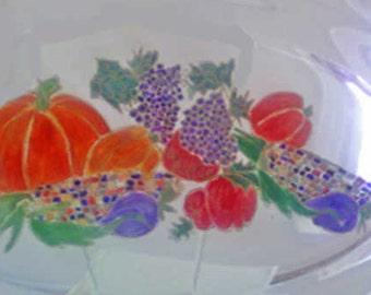 Hand painted,tableware,dinnerware,Thanksgiving,plates,glassware,platter,glass platter,serving platter,serveware,Thanksgiving dinner