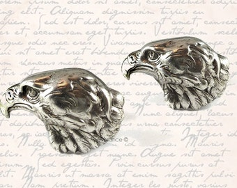 Cufflinks Antique Silver American Eagle Head Vintage Inspired Statement Shirt Accessory Set Option Available