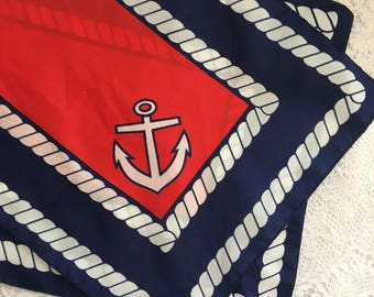red, white and blue nautical scarf, 11 x 54