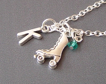 Roller Skate Charm Necklace, Personalized Antique Silver Initial Monogram Birthstone Roller Skate  Necklace
