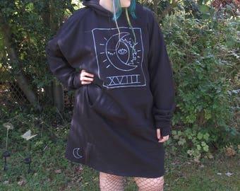 XVIII The Moon, Hoodie Dress, Handmade in plus sizes.