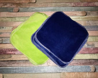 Ten (10) Green and Blue Velour Cloth Diaper Wipes / Wash Cloths Sampler Pack