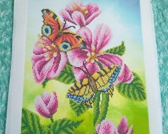 Flowers Butterflies Beaded Embroidery kit DIY Beadwork Bead Embroidery Kit DIY Set for embroidery Beaded Embroidery beads and canvas